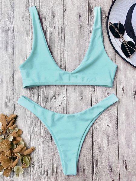 Scoop Neckline Solid Bralette High Cut Bikini