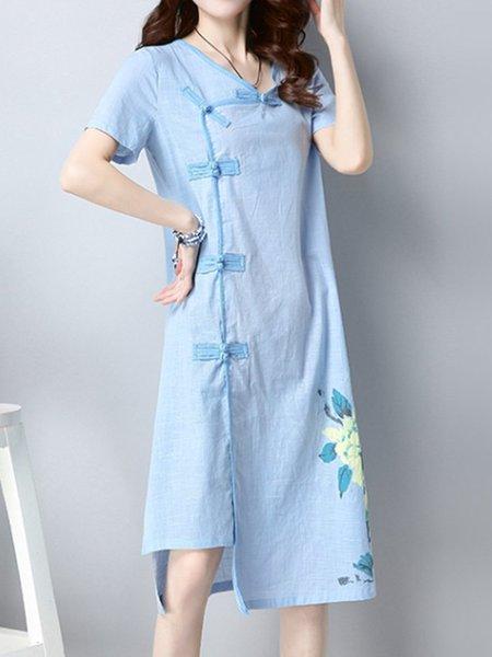 Short Sleeve Floral Printed Crew Neck Elegant Vintage Dress