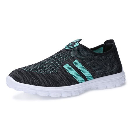 Men Breathable Knitted Fabric Slip On Casual Sneakers