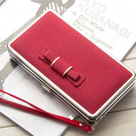 Women PU Leather Bow Multifunction Phone Case Clutches Bag