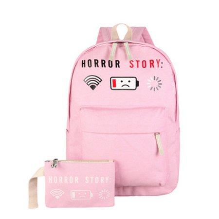 Girls Canvas Lovely Cute Backpack Student Bag Cartoon Shoulder Bag