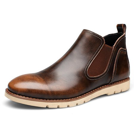 Men Faux Leather Slip On Vintage Color Casual Ankle Boots