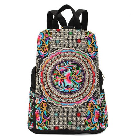 Ethnic Style Embroidery Canvas Multi Slots Zipper Creative Flower Bag Backpack