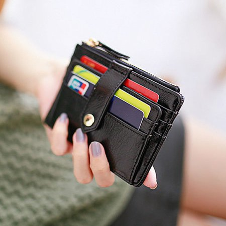 Ladies PU Leather Pure Color Multi-slots Card Holder Coins Bag