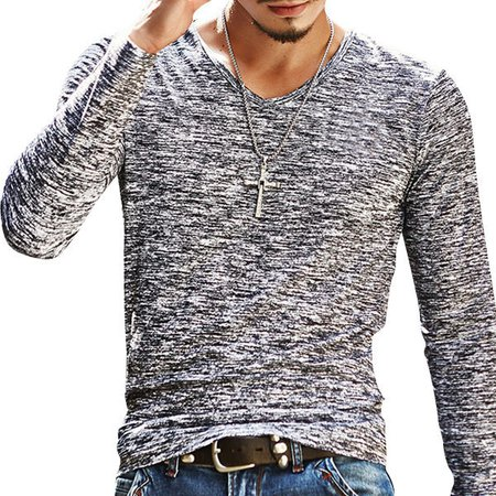 Casual Solid Casual Long-Sleeve V-Neck T-shirt