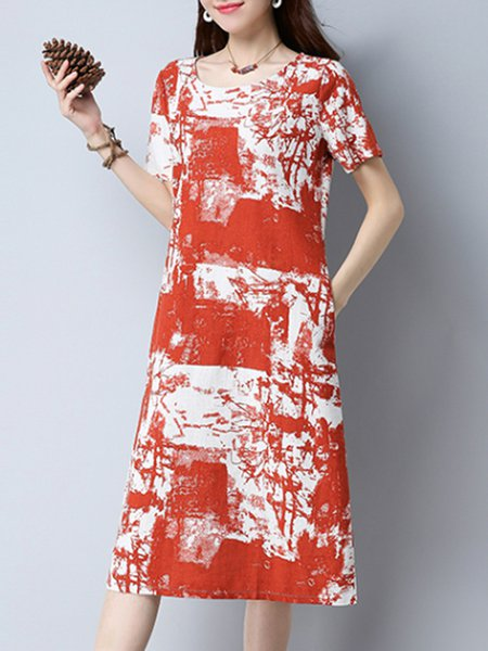 Red Abstract Crew Neck Casual Print Dress
