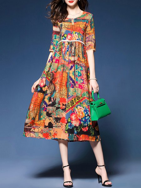 Multicolor Women Print Dress Crew Neck A-line Going out Casual Abstract Dress
