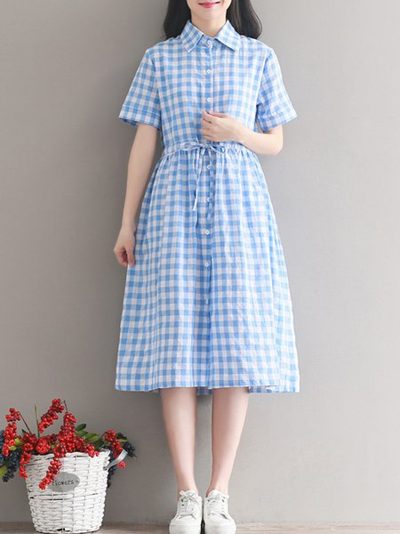 A-line Short Sleeve Checkered/Plaid Buttoned Casual Dress