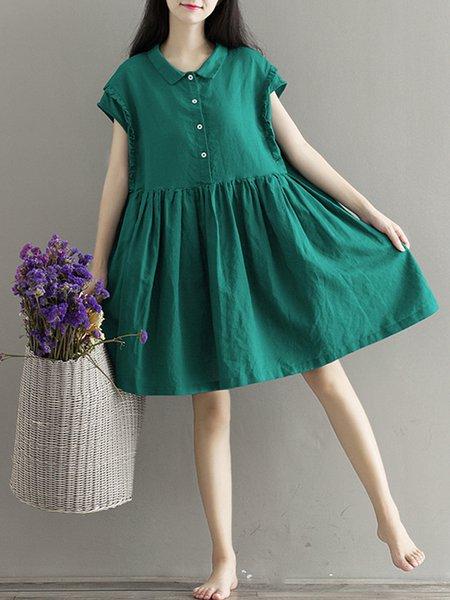 Green Women Casual Dress Shirt Collar A-line Daytime Short Sleeve Casual Dress