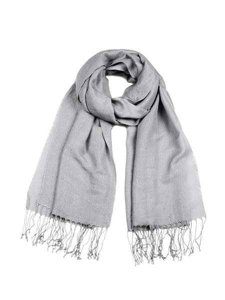 Light Gray Solid Fringed Simple Scarf