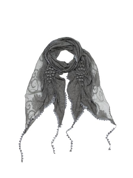 Gray Casual Lace Trimmed Scarf
