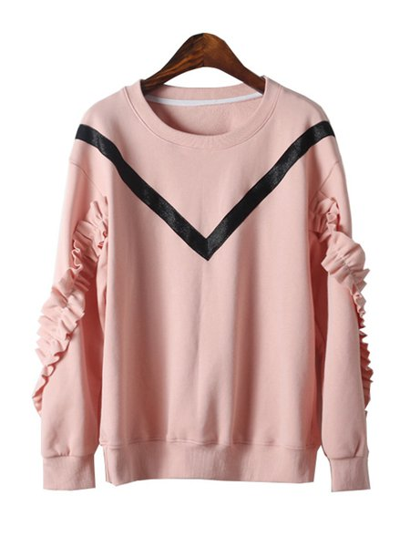 Girly Ruffled Crew Neck Sweatshirt
