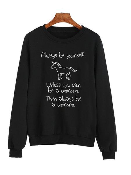 Printed Long Sleeve Letter Casual Sweatshirt