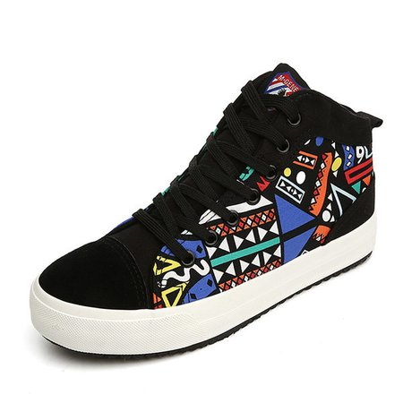 Graffiti Lace Up Low Cut Fashion Canvas Casual Shoes For Women