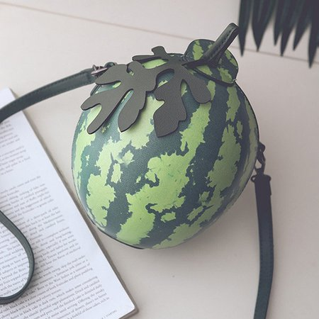 Women PU Leather Cute Watermelon Shape Mini Crossbody Bag