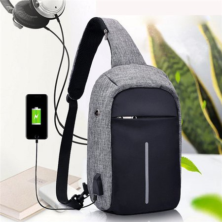 USB Charing Port Nylon Anti Theft Chest Bag Outdooors Travel Waterproof Crossbody Bag