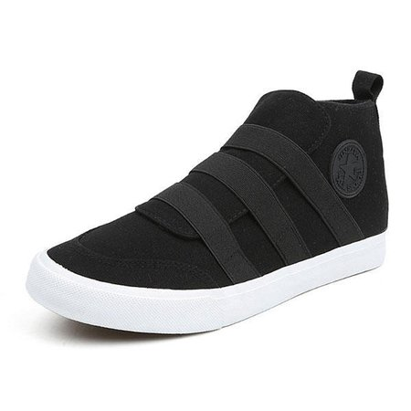 Men Casual Slip On Canvas Elastic Band High Top Shoes