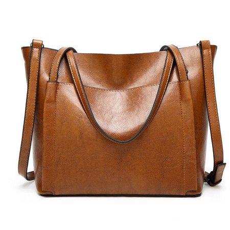 Women PU Leather Simple High Capacity Handbags Shoulder Bag