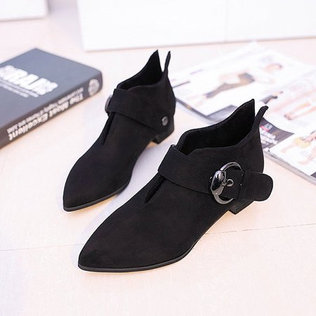 Retro Pointed Toe Buckle Low Heel Metal Soft Boots