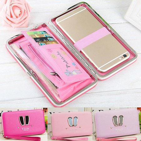 Women Sweet Exquisite Silver-tone hardware PU Leather Wallet Long Card Holder Phone Case