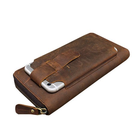 First Layer Of  Faux Leather Vintage Coin Bag Business Zipper Wallet For Men