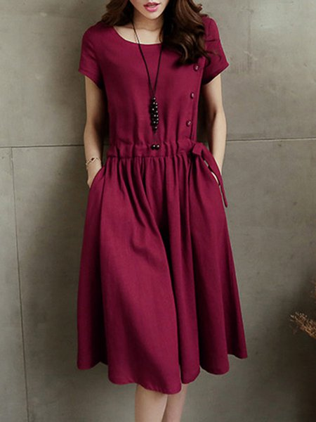 A-line Casual Drawcord Short Sleeve Casual Dresses