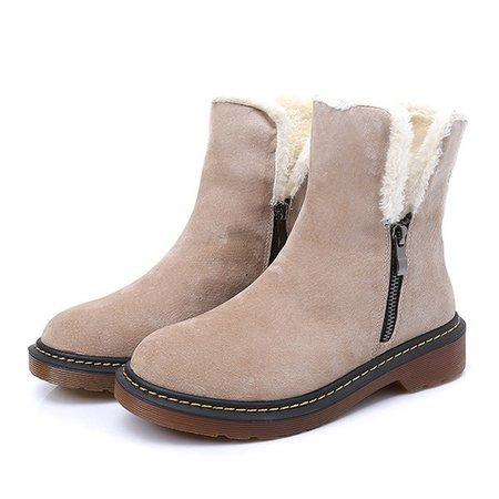 Zipper Chunky Heel Fur Lining Short Boots