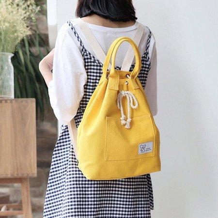 Women Canvas Multifunction Backpack Large Capacity Waterproof Bucket Handbags