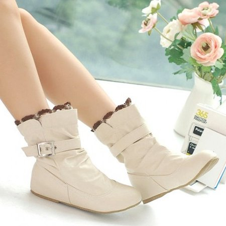 Big Size Lace Heel Buckle Increasing Slip On Mid Calf Flat Boots