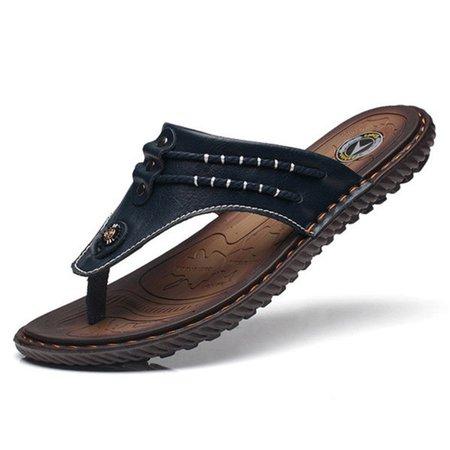 Hommes Couture Main Pantoufles De Plage Orteil Clip Doux Sandales En Cuir Imperméable B44qew