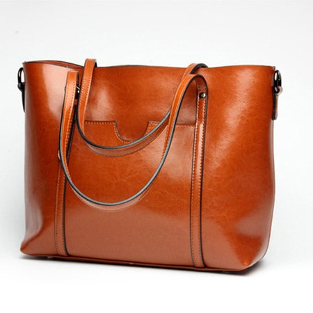 Women Casual Front Pockets Oil PU Leather Tote Handbags Shoulder Bags