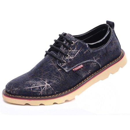 Big Size Men Jean Stripe Plaid Check Casual Lace Up Oxford Shoes