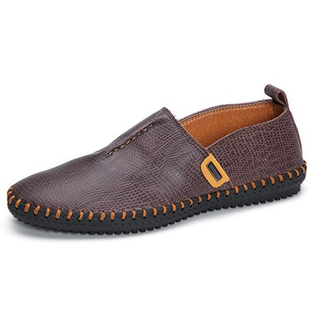 Men Hand Stitching Serpentine Pattern Lazy Slip On Casual Driving Loafers