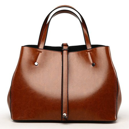 Women Oil Wax Leather Tote Bag Vintage Crossbody Bag