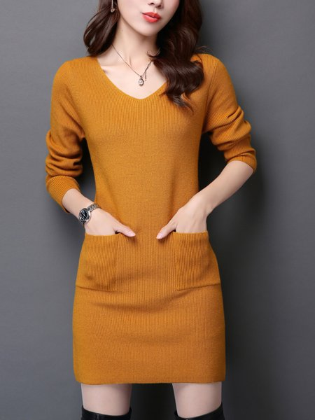 V Neck Casual Knitted Long Sleeve Solid Mini Dress