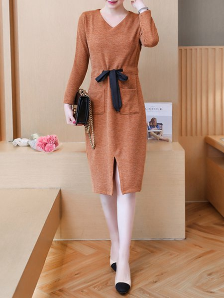 V Neck Solid Casual Knitted Long Sleeve Dress