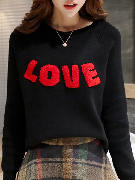 Raglan Sleeve Letter Casual Knitted Sweater