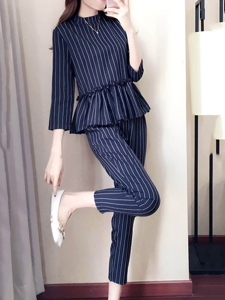 3/4 Sleeve Sweet Flouncing Casual Ninth Pants Women's Two Piece