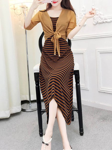 Stripe Printed Casual Women's Shawl with Jumper Skirt