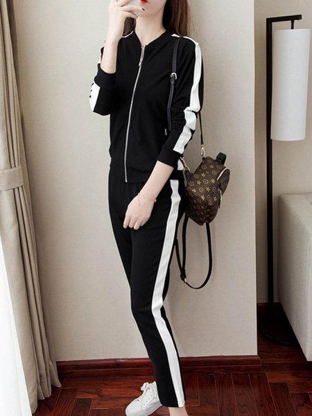 White Stripe Casual Sport Style Black Long Sleeve Women's Two Piece