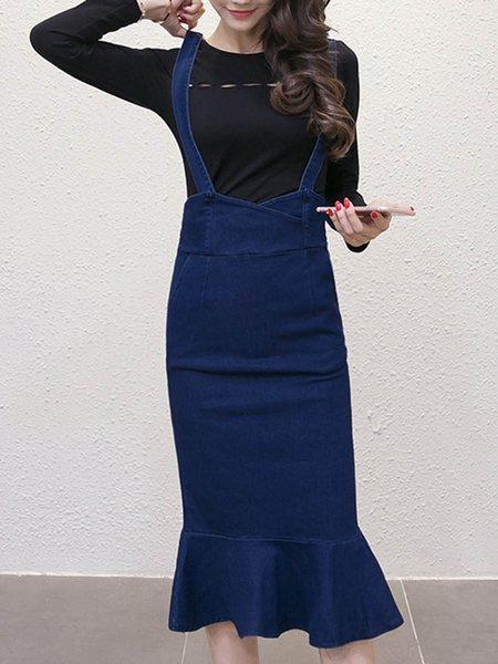 Navy Blue Bodycon Flouncing Denim Suspender Skirt Women's Top with Skirt