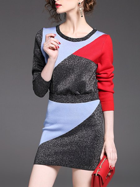Stylish Color-block Street Bodycon Knitted Skirt Women's Two Piece