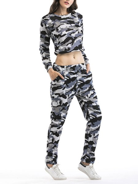 Individual Bare Midriff Camouflage Color Long Sleeve Women's Two Piece