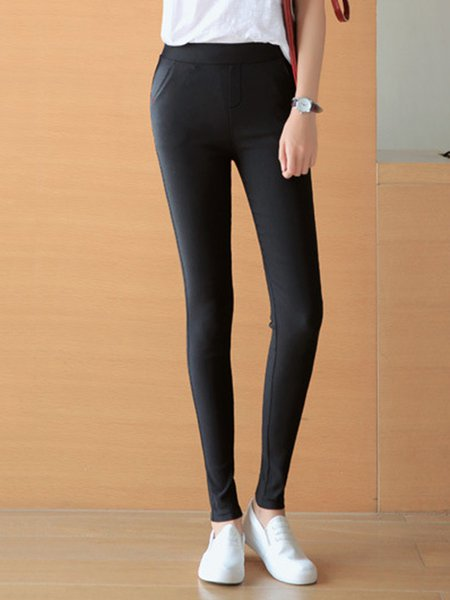 Black Casual Polyester Pants