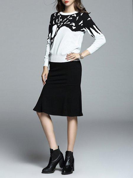 Long Sleeve Wool Blend Elegant Crew Neck Women's Co-ord