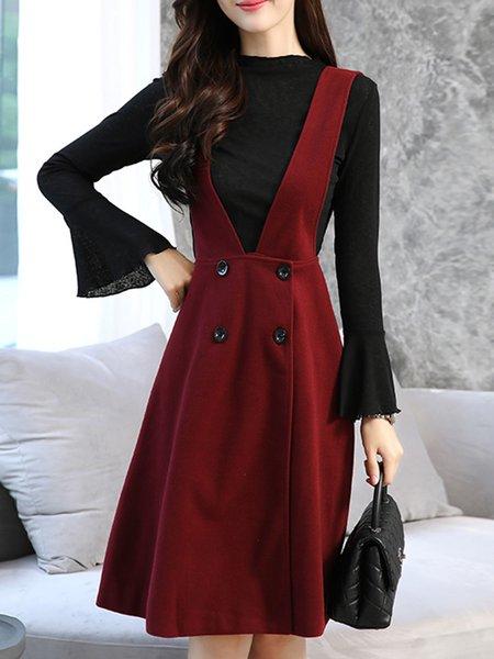 Burgundy Long Sleeve Polyester Ruffled A-line Dress