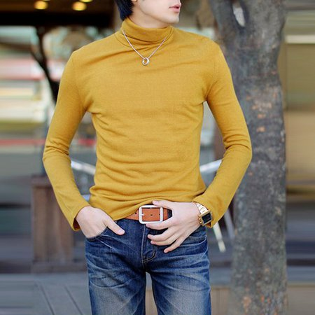 Navy Blue Solid Turtleneck Casual T-shirt