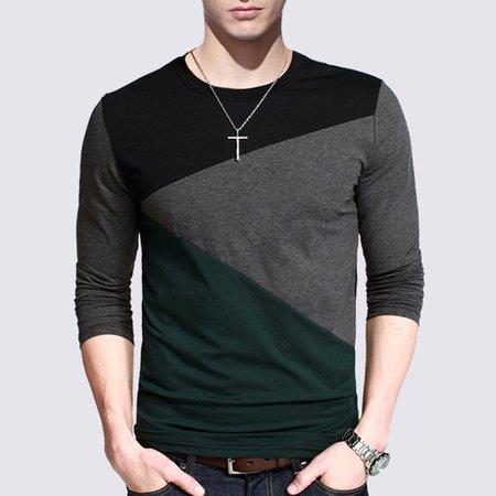 Green Color-block Casual Shirt