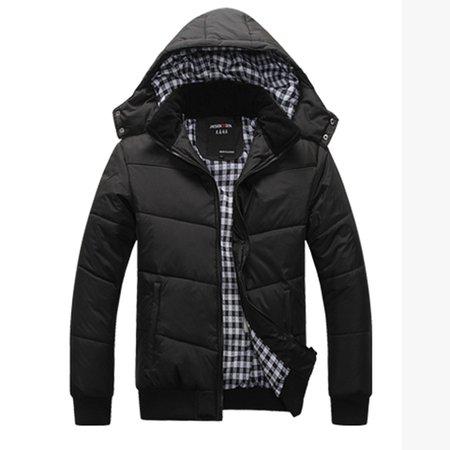 Black-blue Hoodie Solid Casual Coat