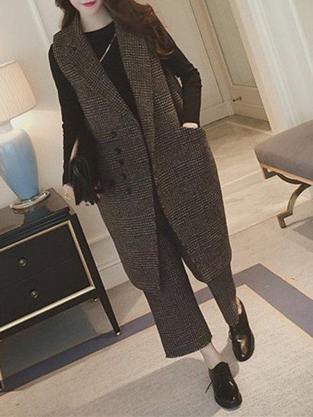 Khaki Checkered/Plaid Elegant Women's Co-ord
